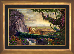 Simba and Nala, as a young adult, finding love, and in the distance presenting his son back on Pride Rock - Aurora Gold Frame.