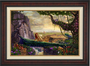 Simba and Nala, as a young adult, finding love, and in the distance presenting his son back on Pride Rock - Burl Frame.