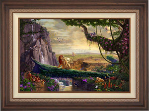 Simba and Nala, as a young adult, finding love, and in the distance presenting his son back on Pride Rock - Dark Walnut Frame.