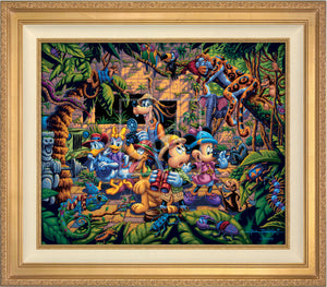 The lush jungle vegetation supports a variety of creatures great and small, including a chameleon, a variety of insects, a snake, birds, monkeys, and even a leopard and an elephant. Mickey and friends find themselves in the center of it all! - Antique Gold frame