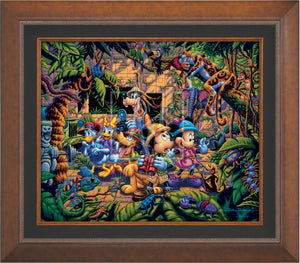 The lush jungle vegetation supports a variety of creatures great and small, including a chameleon, a variety of insects, a snake, birds, monkeys, and even a leopard and an elephant. Mickey and friends find themselves in the center of it all! - Aurora Copper frame