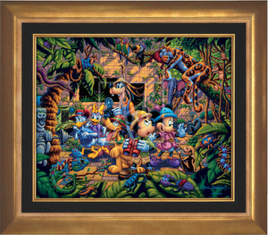 The lush jungle vegetation supports a variety of creatures great and small, including a chameleon, a variety of insects, a snake, birds, monkeys, and even a leopard and an elephant. Mickey and friends find themselves in the center of it all! - Aurora Gold frame