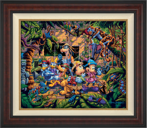 The lush jungle vegetation supports a variety of creatures great and small, including a chameleon, a variety of insects, a snake, birds, monkeys, and even a leopard and an elephant. Mickey and friends find themselves in the center of it all! - Burl frame