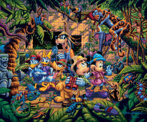 The lush jungle vegetation supports a variety of creatures great and small, including a chameleon, a variety of insects, a snake, birds, monkeys, and even a leopard and an elephant. Mickey and friends find themselves in the center of it all!