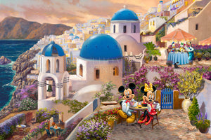 Mickey and Minnie travel to Santorini in Greece. They dine outside overlooking the historic building with striking blue domes is the Anastasi Church of Oia. - Unframed