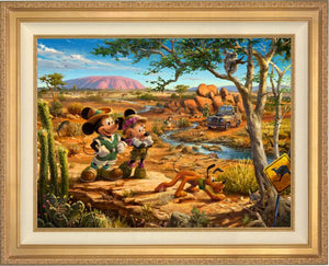 Mickey, Minnie, Pluto Donald, and Goofy explore the land down under - Australia. -Antique Gold Frame