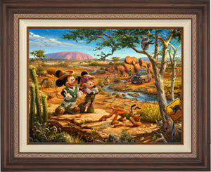 Mickey, Minnie, Pluto Donald, and Goofy explore the land down under - Australia. - Dark walnut Frame