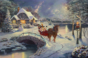 Mickey, Minnie, and Pluto as they enjoy their evening winter sleigh ride. - Unframed