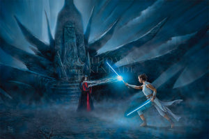 Rey channels the Force and Jedi before her and,draws her Lightsaber to confronts the Emperor. -Unframed