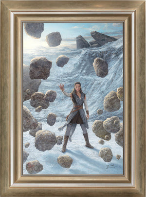 Rey uses the Force to lift the boulders - Frame- Brushed Gold