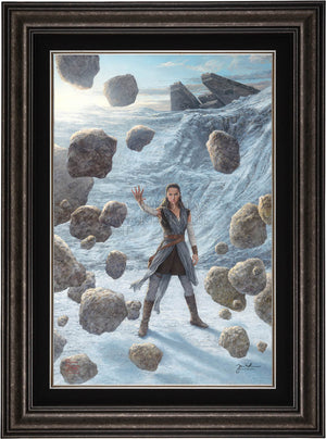rey uses the force to lift the boulders - frame - Dark Pewterr