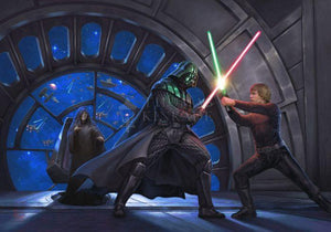 The duel of Darth Vader™ and Luke Skywalker™. Is this the final encounter for father and son? Artwork inspired by Star Wars Movie - The Empire Strikes Back.