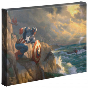 Captain America has positioned himself ready to battle Red Skull and his Hydra henchmen, who are approaching the coast in submarines.  Gallery Wrap Canvas