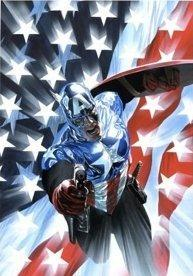 Captain America in from of the American Flag.