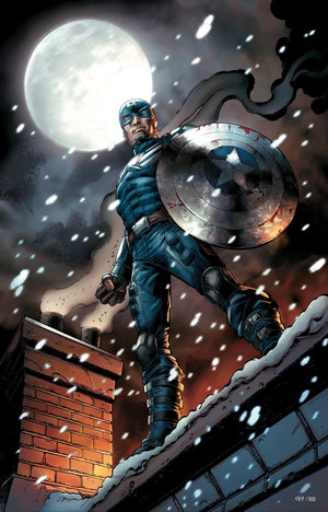 Captain America standing on a roof top on a full moon snowy night.