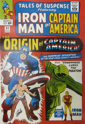 Captain America, from the Origin Series, featuring first appearance comics book covers.