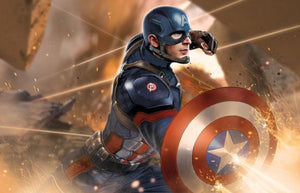 Captain America in battle.