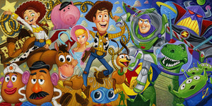 The Cast of from the movie Toys Story, with Woody, Buzz Lightyear in the front center, surrounded by the cast.