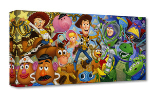 Gallery Wrap - The Cast of from the movie Toys Story, with Woody in front center, surrounded by cast.