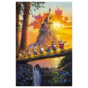 The Seven Dwarfs crossing on a fallen tree log, with a prefect view of castle in the backdrop.