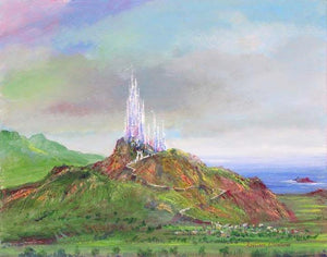 Cinderella's glass castle towers on top of a rocky mountain landscape