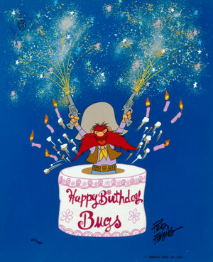 Yosemite Sam pops out of a birthday cake to wish BUGS a Root'n-Toot'n 50th Birthday.