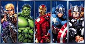 A Colorful rendering of Hawkeye, Hulk, Iron-Man, Captain America and Thor