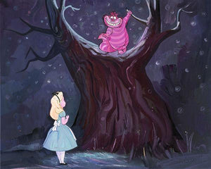 The Cheshire Cat looking down from the tree at Alice