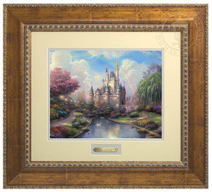 The beautiful enchanting Cinderella Castle. A double rainbow arcs over the towering castle; morning light gently kisses the stone turrets - Antiqued Gold Frame