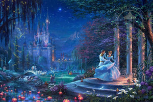 Cinderella dancing with the royal prince under the starlight by Thomas Kinkade Studios.  Cinderella's dreams have come true under the starlight Cinderella is in the arms of her prince.
