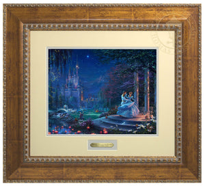 Cinderella Dancing in the Starlight by Thomas Kinkade Studios.  Cinderella's dreams have come true under the starlight Cinderella is in the arms of her prince - Antiqued Gold Frame