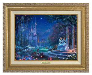 Cinderella Dancing in the Starlight by Thomas Kinkade Studios.  Cinderella's dreams have come true under the starlight Cinderella is dancing with her prince - Antique Gold Frame