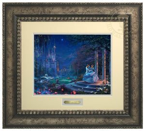Cinderella Dancing in the Starlight by Thomas Kinkade Studios.  Cinderella's dreams have come true under the starlight Cinderella is in the arms of her prince - Antiqued Silver Frame