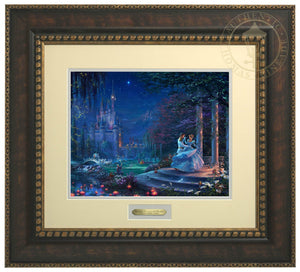 Cinderella Dancing in the Starlight by Thomas Kinkade Studios.  Cinderella's dreams have come true under the starlight Cinderella is in the arms of her prince - Bronze Gold Frame