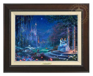 Cinderella Dancing in the Starlight by Thomas Kinkade Studios.  Cinderella's dreams have come true under the starlight Cinderella is dancing with her prince - Espresso Frame