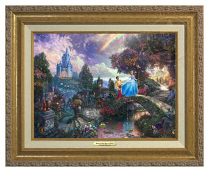 Cinderella and her prince cross the stone bridge over the lover's reflecting pool - Antique Gold Frame
