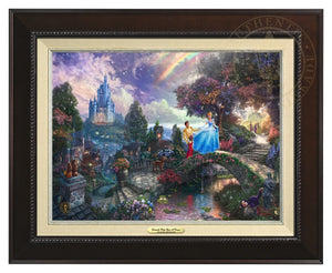 Cinderella and her prince cross the stone bridge over the lover's reflecting pool - Espresso Frame