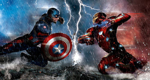 A battle for power as Captain America and Iron Man fight.