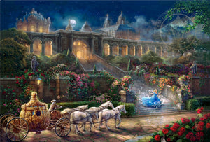 Cinderella, racing down the castle's stairs, as the clock strikes midnight. - as her magical  carriage awaits.