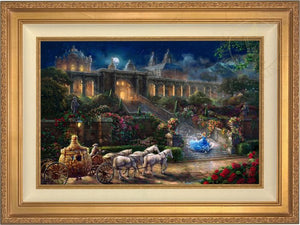 Cinderella, racing down the castle's stairs, as the clock strikes midnight. -  Antique Gold Frame