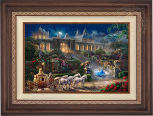 Cinderella, racing down the castle's stairs, as the clock strikes midnight. -  Dark Walnut  Frame