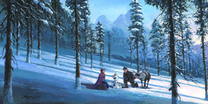 Cold Winter's Day by Rodel Gonzalez.  Anna, Olaf, and Kristoff are resting in the wooded hillside covered with snow.