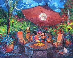 Mickey and Minnie having a romantic evening by the fireside...