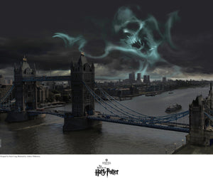 Dark Mark Over London by Stuart Craig.  A face like dark skull image lures over the London bridge.