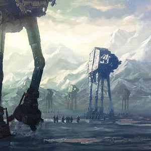 At the Battle of Hoth, massive AT-AT walkers engaged the Alliance. - Closeup