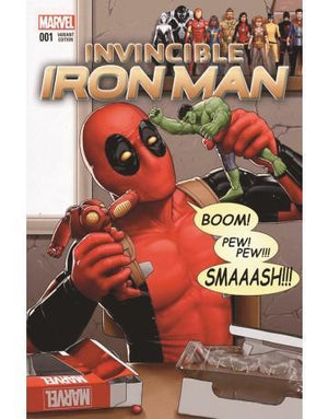 Comic book cover of Deadpool playing with Iron Man and the Hulk figurines.