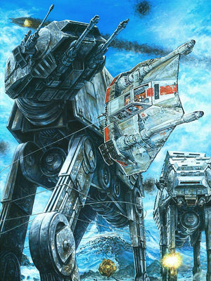 The AT-AT Walkers entrenched in battle with the Rebellion