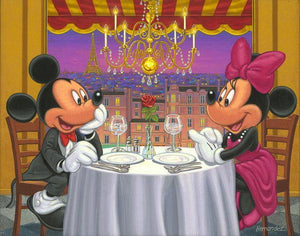 Mickey and Minnie having a romantic formal dinner in their dashing outfits.