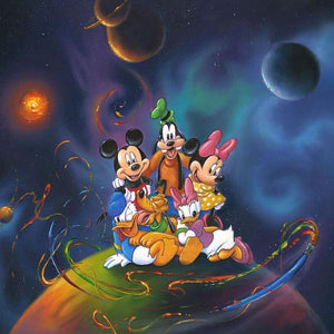 Disney World by Jim Warren.  The Gang of Five sitting on top of the world surrounded by galaxy of planets - closeup