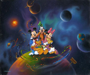 Disney World by Jim Warren.  The Gang of Five sitting on top of the world surrounded by galaxy of planets.
